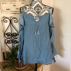 Rachel Roy chambray ruffle sleeve blouse